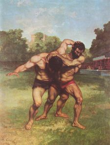 """Los luchadores,"" Gustave Courbet"