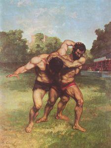 """Los luchadores,"" Gustave Courbet"