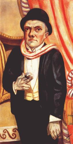 Autorretrato frente a cortina roja (1923), Max Beckmann